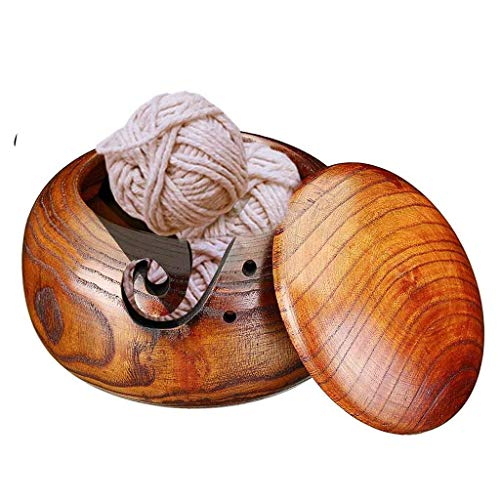 Aleola Christmas Day Best Gifts - Wood Brown Yarn Bowl for Knitting, Crochet for Moms - Beautiful Gifts on All Occasions. A Gift for Moms and Grandmothers (A)