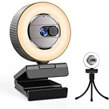 2021 CASECUBE 2K Quad HD Webcam with Microphone and Ring Light, Webcam Cover, 2 Colors and 3-Level Brightness, Plug and Pl...