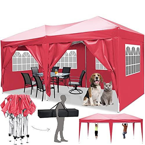 Faltpavillon 3x3/3x6 Pavillon Wasserdicht Gartenpavillon UV Schutz Faltpavillon mit 4 Seitenteilen Festival Partyzelt Sonnenschutz Pavillon für Strand / Garten / Hochzeit / Camping (3x6M, Rot)