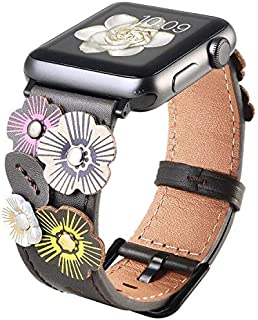 Ribivaul Handmade Flower Leather Watch Band Compatible with Apple Watch 38mm 40mm Watchband for iwatch Series 4/3/2/1 Replacement Band Strap with with Stainless Steel Buckle Women Men