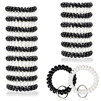 BIHRTC Pack of 30 Black White Plastic Stretchable Spring Coil Key Chain Key Ring Spiral Telephone Wire Cord Wristband for Office Workshop Shopping Mall Sauna and Outdoor Activities Place