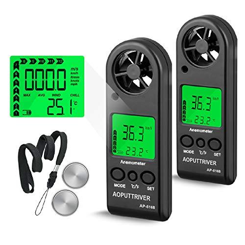 Windmesser,AP-816B-2 Pack WindmessgerätHand Digital Anemometer Thermometer Handwindmesser Air Flow Geschwindigkeit Messung mit Hintergrundbeleuchtung+℃/℉+Manuell/Auto Aus für Windsurfen Segeln Angeln