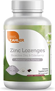 Zahler Zinc Lozenges with Elderberry, 25mg Chewable Zinc Tablets, Immune Support Antioxidant Supplement, Great Tasting Zin...