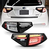 ACANII - For 2008-2014 Subaru Impreza WRX Hatchback Black Housing LED Tail Lights w/Sequential Signal Lamps Assembly Set