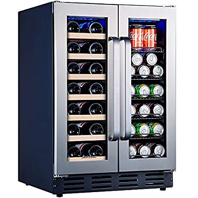 Kalamera Beverage and Wine Cooler   24 inch with Seamless Steel Door   Dual Zone for Built-in and Freestanding   Beer, Wine, Soda And Drink Mini Fridge   Drinks Fridge at Home, Office, Kitchen and Bar