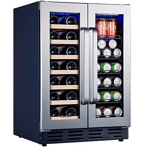 Kalamera Beverage and Wine Cooler | 24 inch with Seamless Steel Door | Dual Zone...