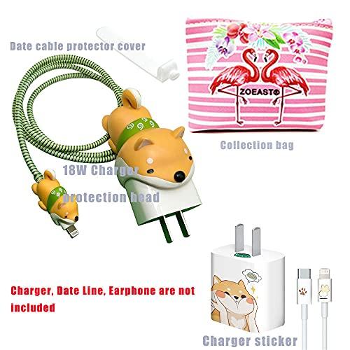 Zoeast Kabelschutz mit Cartoon-Design, 18 W, 20 W, USB-Ladegerät, Ladedaten, Kopfhörer, kompatibel mit allen iPhone 11 12 Pro Max Mini etc. USB-Kabel (Akita)