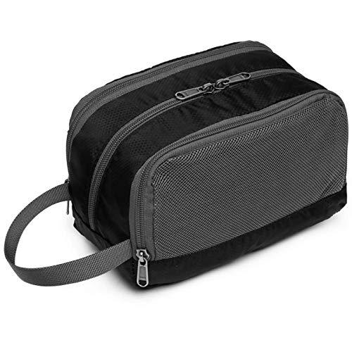 Travel Toiletry Bag, Cambond Dopp Kit Shaving Bag Nylon Toiletry Bag for Men Women Travel Bathroom Bag with Hanging Strap, Black