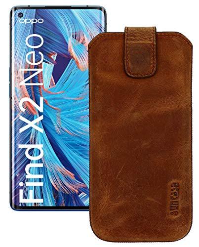 Suncase Leder Tasche kompatibel mit Oppo Find X2 Neo Hülle mit ZUSÄTZLICHER Transparent Hülle | Schale | Silikon Bumper Handytasche (mit Rückzugsfunktion & Magnetverschluss) in antik-Coffee