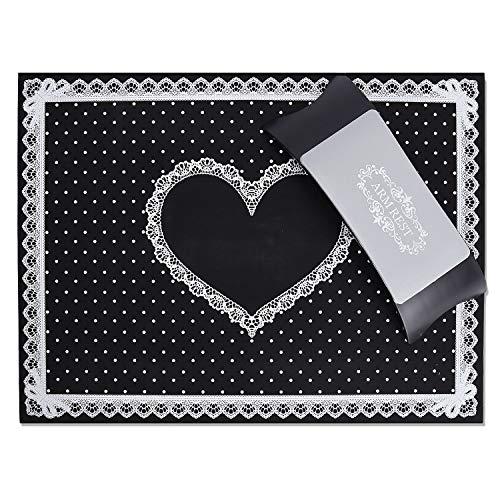 Noverlife - Cuscino e tappetino da tavolo per manicure e nail art, in silicone, lavabile, pieghevole, supporto per braccioli e polsi, per nail art e saloni di bellezza, colore: nero