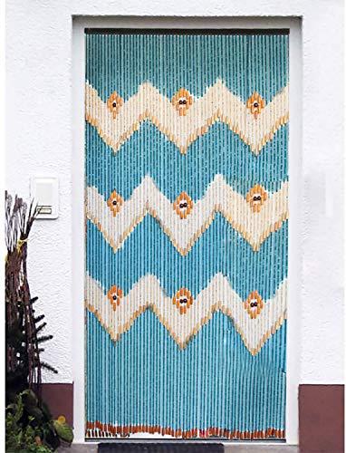 Hogar y Mas Cortina para Puerta de Bambú Natural, Azul Marino. Sostenible, exenta de plástico 90cm X 200cm