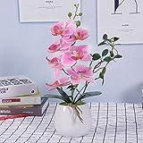 VIVILINEN Orquideas Artificiales en Maceta Flores Artificiales Plásticos Flor de Phalaenopsis Realistas Orquídea Mariposa con Maceta Cerámica Decoración Cálida para Hogar Dormitorio y Oficina