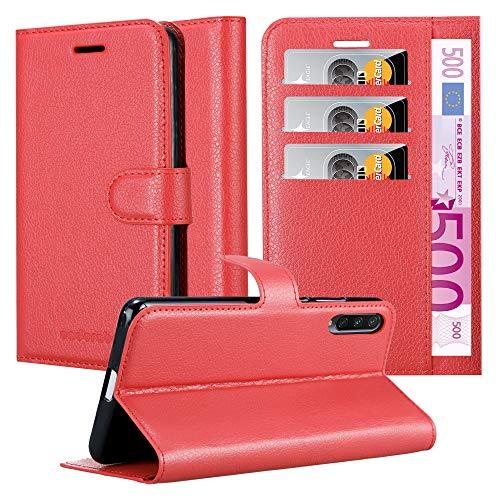 Cadorabo Hülle für Xiaomi Mi A3 in Karmin ROT - Handyhülle mit Magnetverschluss, Standfunktion & Kartenfach - Hülle Cover Schutzhülle Etui Tasche Book Klapp Style