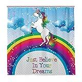 Wamika Einhorn Regenbogen Pferd Badezimmer Duschvorhang Liner Just Believe In Your Dreams Design Durable Stoff Schimmelresistent Wasserdicht Badewanne Vorhang mit 12 Haken 183,0 cm x 183,0 cm