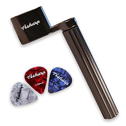 Asharp Saitenkurbel inkl. 3 Plektren – Premium Saiten-Kurbel für schnelles Saitenwechsel – Für alle Gitarrentypen