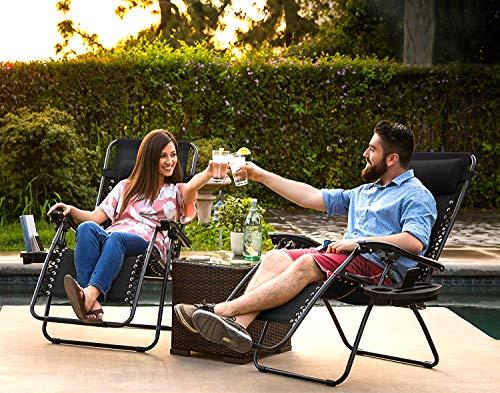 Straame Garden | Zero Gravity Chair | Set of 2 | Heavy Duty Textoline | Outdoor & Garden Sunloungers | Reclining & Folding Chair (Black)
