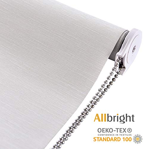 ALLBRIGHT Thermal Insulated 100% Blackout Waterproof Fabric Silver Back Custom Window Roller Shades Blinds, 72' H with 95% UV Protection (Beige, 58'')