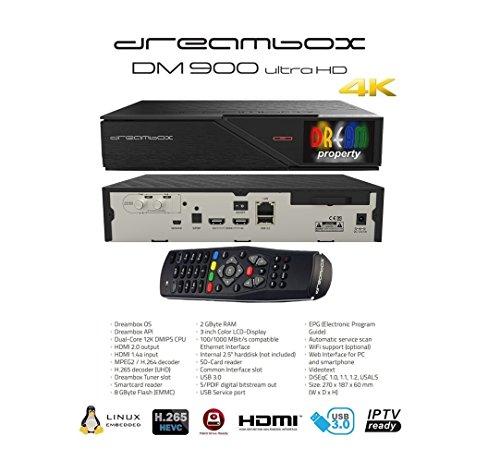 DreamBox 900 UHD 4K E2 Linux Dual DVB-C/T2 Twin Kabel/Terrestrisch Receiver Schwarz 2160p PVR
