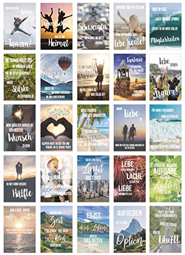 Edition Seidel Set 25 Postkarten Leben & Momente mit Sprüchen - Karten mit Spruch - Geschenk - Dekoidee, Liebe, Freundschaft, Leben, Motivation, Glück, Erfolg Geburtstagskarten, Postcrossing