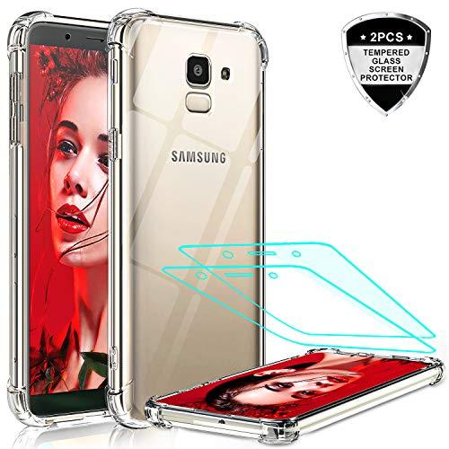 LeYi für Samsung Galaxy J6 2018 Hülle mit Panzerglas Schutzfolie(2 Stück), Neu Transparent Cover PC Air Cushion Bumper Schutzhülle Handy Hüllen für Hülle Samsung Galaxy J6 2018 Handyhülle Crystal Clear