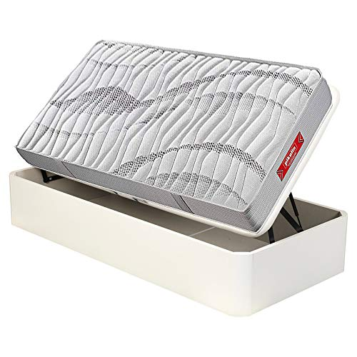pikolin - Canapé Abatible Madera Apertura Lateral y colchón muelles normablock, envío y Montaje Incluido. - Blanco, 105x190cm