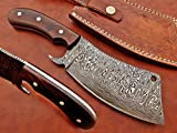10' long hand forged rain drop Pattern Damascus steel Butcher Meat cleaver, Natural walnut wood scale, Cow hide Leather sheath included (Brown)