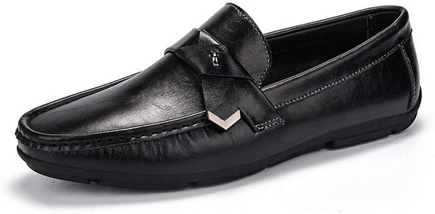 Men's Casual shoes Loafers Comfortable Leather Casual shoes Breathable Driving shoes Flats Boat shoes,Black,44