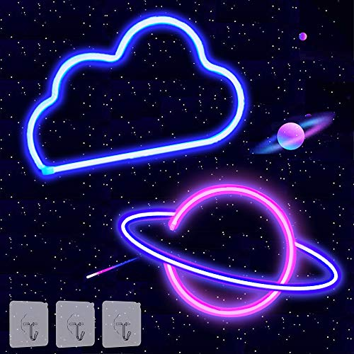 2 Pack Cloud Planet Neon Signs Neon Lights for Wall Decor USB or Battery Operated LED Light Signs for Bedroom, Decorative Neon Light Sign for Christmas, Birthday Party, Living Room, Girls, Kids Room