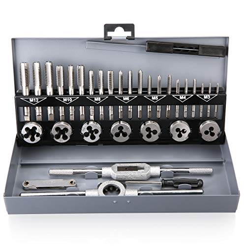 32Pcs Tap and Die Set Metric Hardened Steel Combination Garage Tool Kit with Box
