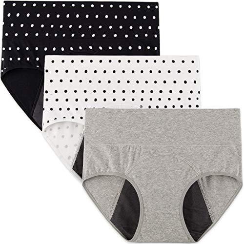 INNERSY Mujeres Bragas Período Menstruales de Cintura Alta de Algodón Protección Ropa Interior Pack de 3 (XL-EU 44, 2Lunares+1Gris Claro)