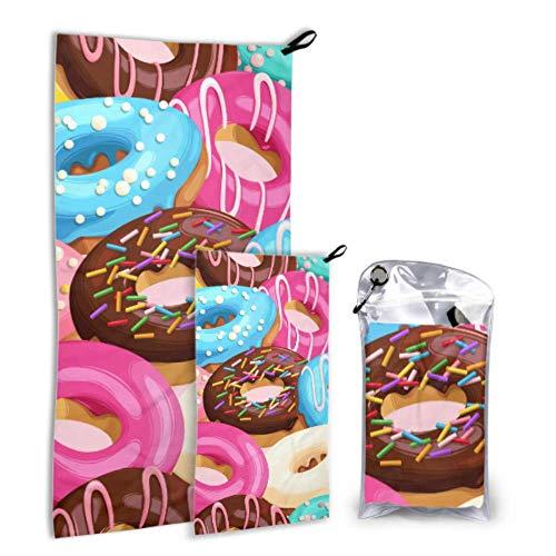 JOCHUAN Glasierte Donuts Nahtlose 2er Packung Mikrofaser Großes Trockentuch Strandtuch Für Mädchen Set Schnelltrocknend Am Besten Für Sportreisen Rucksackreisen Yoga Fitnes