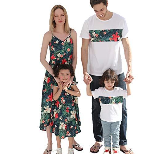 SYLTT Trajes Familiares a Juego, Correas de Espaguetis Impresas de Flor Vestido Largo de Cuello en V Mamá y ME One Pieza Vestido de Verano Camiseta de Manga Corta con Trajes a Juego