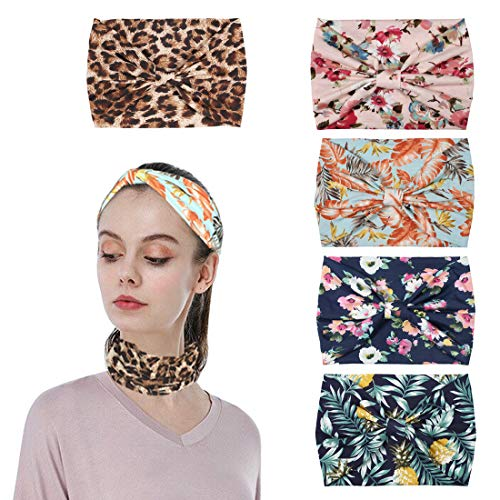 YONUF Boho Headbands For Women Girls Elastic Turban Hair Bands Accessories Head Wraps 5 Pcs