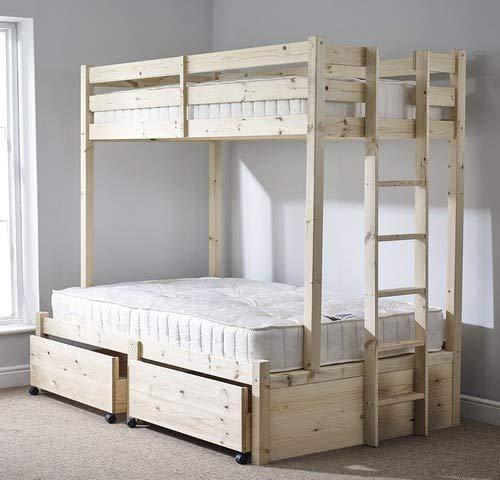 Diseño de cama doble dureza triple con literas de madera maciza de escaleras, escaleras y barandillas, los niños son fáciles de montar camas y camas de madera maciza,Wood