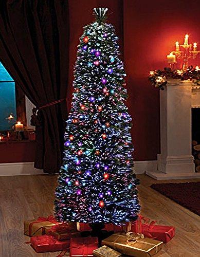 FB FunkyBuys® Green Fibre Optic SLIM PENCIL Christmas Xmas Tree Pine...