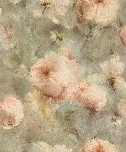 rasch Tapete 467345 aus der Kollektion Vincenza – Vliestapete mit floralem Aquarell in Rosa auf grünem Hintergrund – 10,05m x 53cm (L x B)