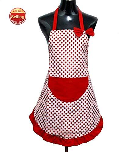 meimie00 Schürzen Kochbekleidung Kochschürze Küchenschürze Lätzchenschürze mit Tasche für Frauen Damen - Muttertagsgeschenk