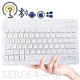 ワイヤレスキーボード Bluetoothキーボードブルートゥースキーボード 無線キーボード タブレット用キーボード ミニキーボード 薄型 ウルトラスリム 軽量 iOS/Android/Mac/Windows対応/長時間稼働 簡単ペアリング ホワイト