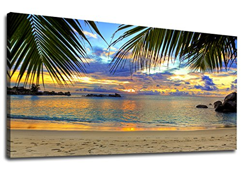 """yearainn Large Canvas Wall Art Tropic Beach Sunset with Palm Tree Leaves Painting Long Canvas Artwork Seascape Ocean Contemporary Nature Picture for Home Office Wall Decor 24"""" x 48"""""""