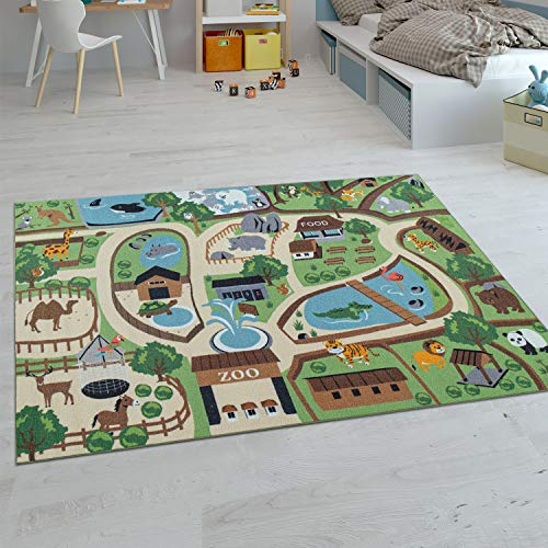 Paco Home Kinder-Teppiche, Kurzflor-Teppiche für Kinderzimmer mit vers. Designs Spielteppiche Bunt, Grösse:100x200 cm, Farbe:Beige