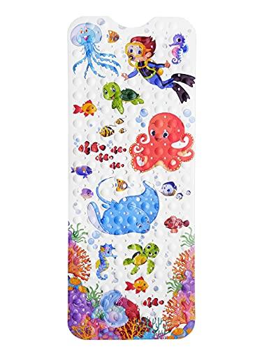 Norda® *NEU* rutschfeste Badewannenmatte für Kinder. Geruchsneutrale Antirutschmatte Iduna. Extra Lange Badewanneneinlage 100x40cm mit kindlichen Motiven.