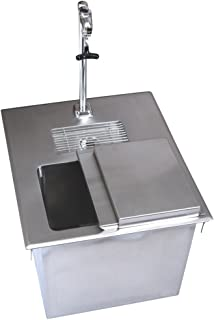 BK Resources BK-DIWSBL-2118X-P-G Stainless Steel Drop In Ice Bin with Water Station w/ Removable Hinge Lid & Lead Free Faucet 18