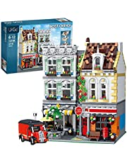Ditzz Postamt huisbouwstenen, modulaire bouw, 2313-delige klembouwstenen, constructiespeelgoed, compatibel met Lego