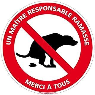 Signaletique.biz France - Panneau Déjections Canines - Un Maître Responsable Ramasse - Diamètre 280 mm - Aluminium 2 mm