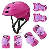 SKL Kids Protective Gear Set,Adjustable Bike Helmet Knee Pads Elbow Pads Wrist Pads 7 in 1 Set for Roller Skating Skateboard BMX Scooter Cycling Boys Girls