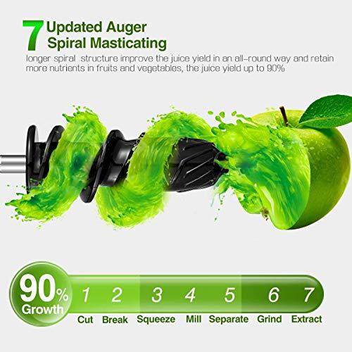 Licuadora Prensado en Frio, AMZCHEF Licuadora Frutas Verduras,Extractor de zumos con Función inversa,Motor Silencioso,fácil de limpiar con un cepillo extra (gris)