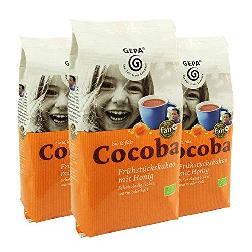 GEPA BIO Cocoba Frühstückskakao mit Honig, 400 g, 3er Pack