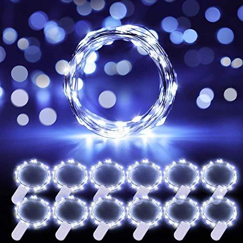 Govee 12m Cadena de Luces, 20 LEDs Guirnaldas Luces con Pilas, IP67 Impermeable Luces de Hadas Decorativas Flexible de Alambre de Cobre para Navidad, Botellas, Fiesta