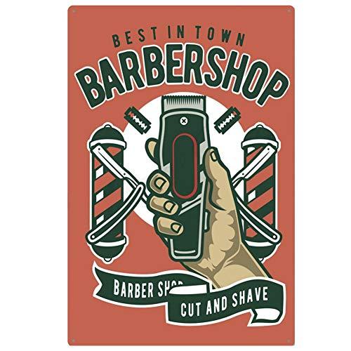 LEEYYO 1 cartel de pintura de hierro retro para pared, diseño de barbería, pintura adecuada para decoración de barbería, casa de barbero, arte callejero, tienda de pared