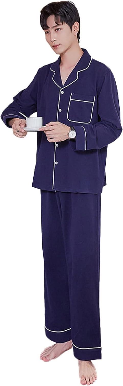 WIITON Pajama Set Christmas Men's Cotton Pajamas Blue Pocket Long Sleeved Trousers Homewear Autumn Winter